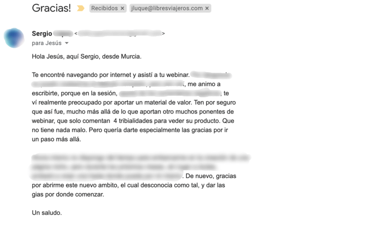 Email gracias Sergio